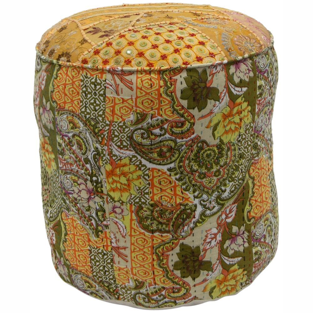 nuLOOM Casual Living Floral Patchwork Round Pouf
