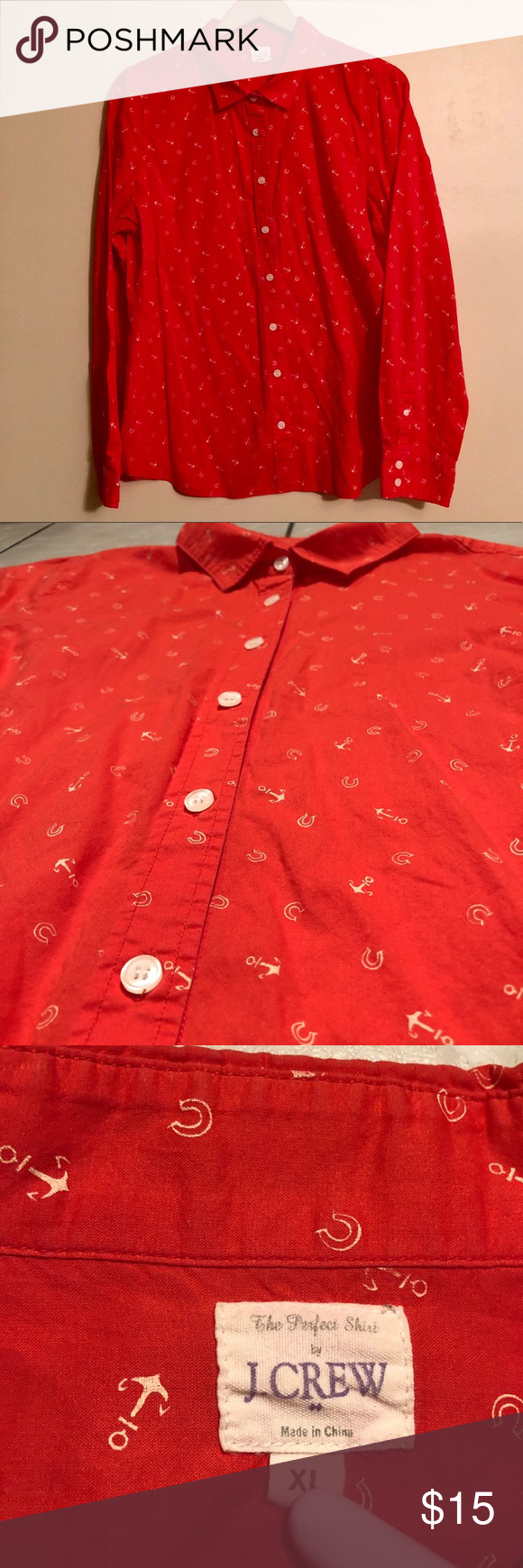"""c520267a The Perfect Shirt in Anchors & Horseshoes Nautical """"The Perfect Shirt """" by J.  Crew. Light, thin cotton red button down with faint anchors and horseshoes."""