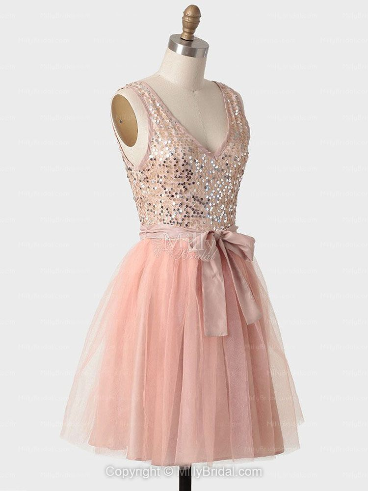 A-line V-neck Knee-length Tulle Pink Party Dress With Sequin at ...
