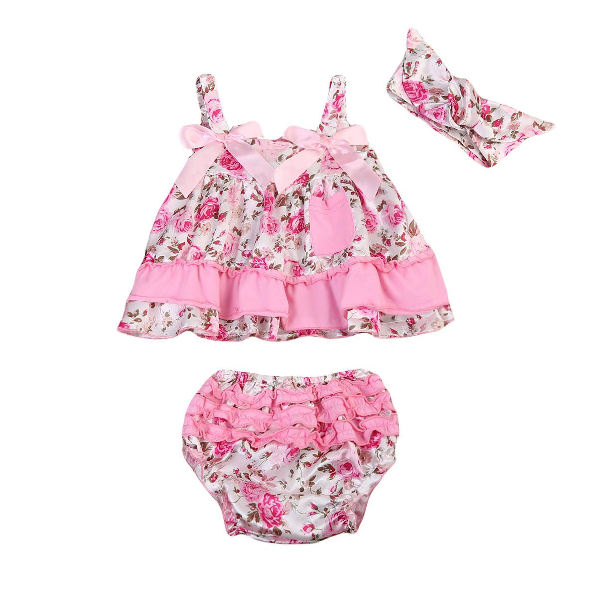 c82aefbfe4b4 Baby Clothing Kids Baby Girls Floral Ruffles Sleeveless Tops + Triangle  shorts+ Headband Outfit Clothes