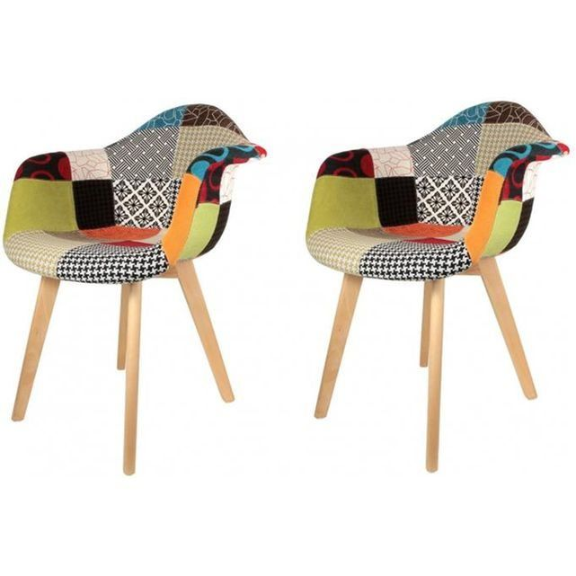 Lot De 2 Chaises Scandinaves Avec Accoudoir Patchwork Colorees Olfus