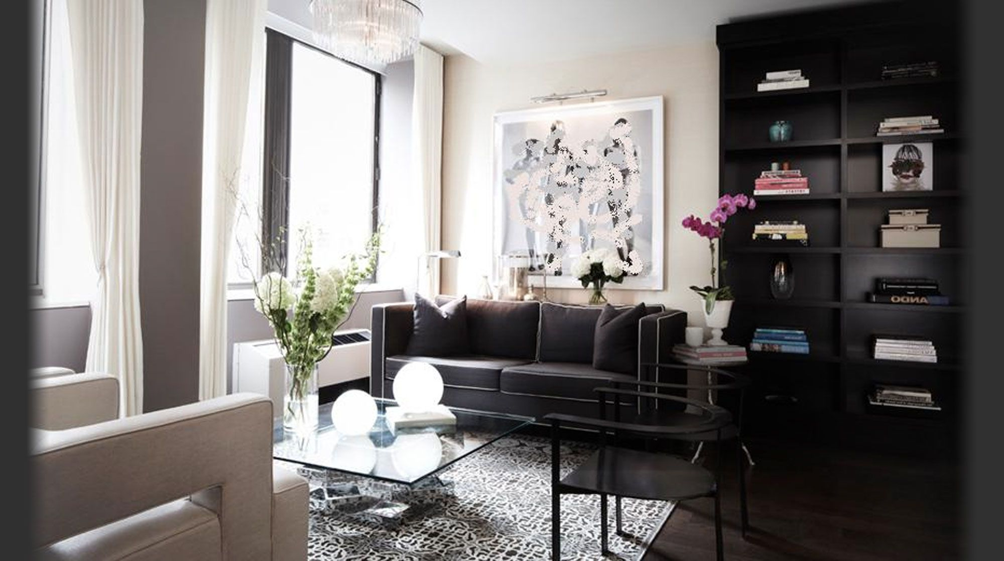 I Often Dream Of Living In The Luxury Of Such A Well Decorated Living  Space. I Like The Black Couch And Bookcase And I Will Have To Aim For An  Apartment ...