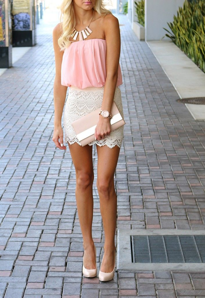 Crochet blush dress | nude clutch | nude heels #fashion ...