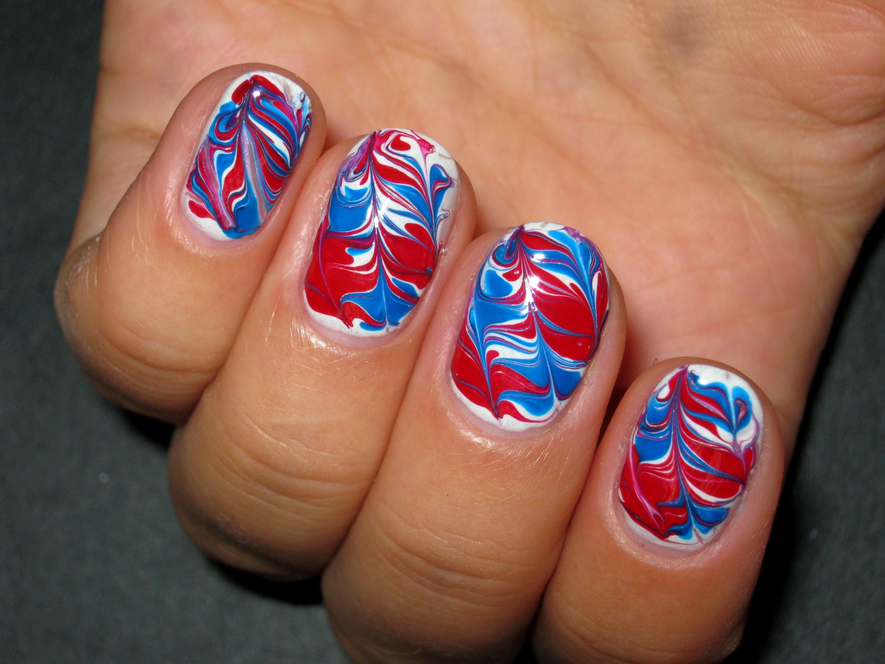 marble *no water* blue red and white nail art design - youtube