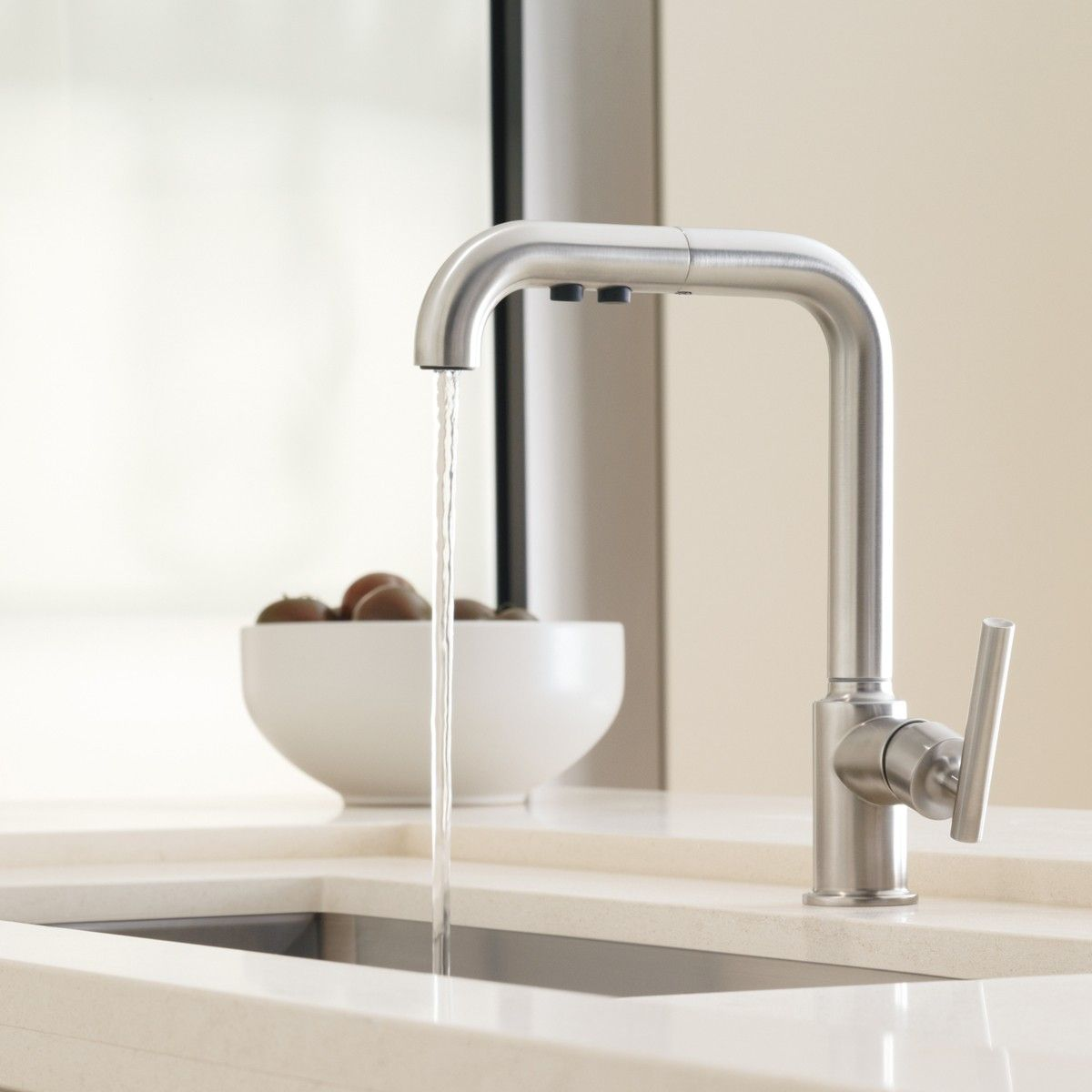The KOHLER Purist Primary Pull-Out Kitchen Faucet is a luxurious ...