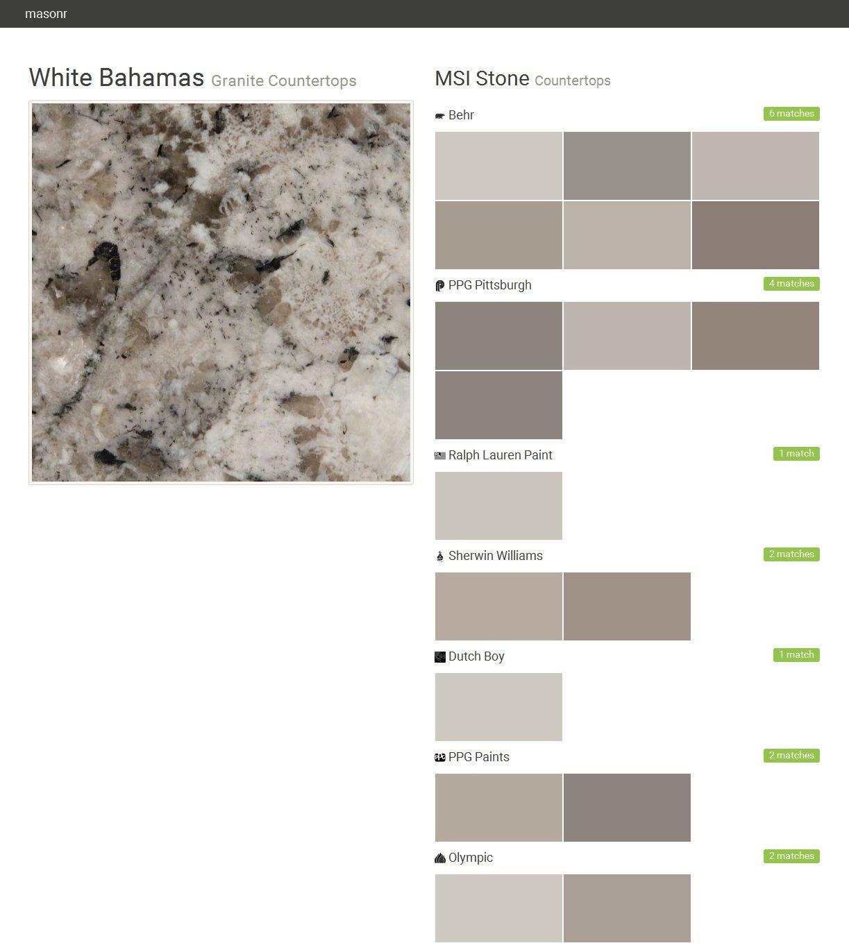 White Bahamas. Granite Countertops. Countertops. MSI Stone. Behr. PPG  Pittsburgh.