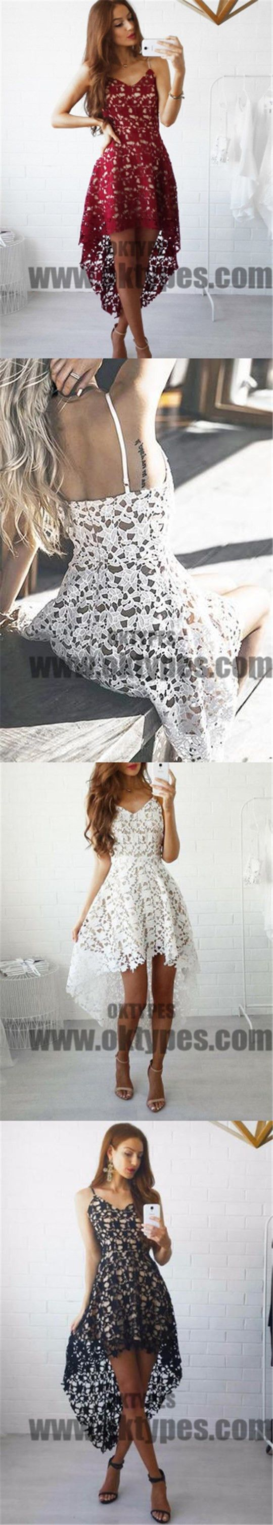 homecoming dress asymmetrical lace short prom dress party