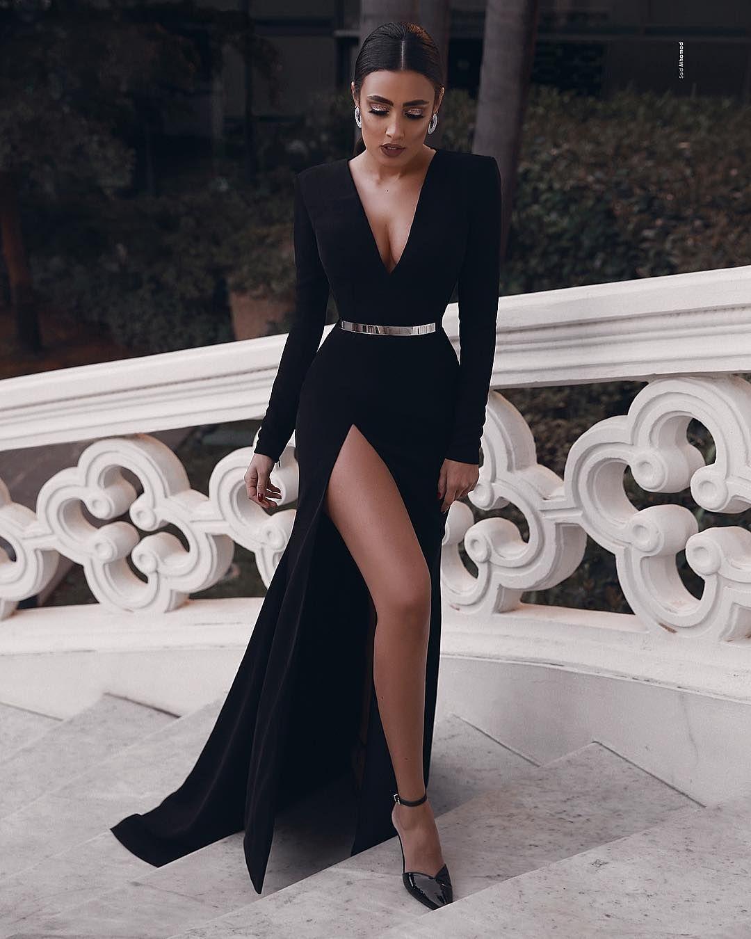 Elegante Abendkleider Lang Schwarz  Abiballkleider Mit Ärmel