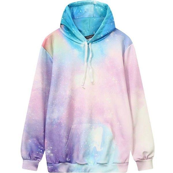 ebbcf5586 Pastel Galaxy Hoodie KOKORO ($23) ❤ liked on Polyvore featuring tops,  hoodies, galaxy print hoodie, pastel pink hoodie, hooded sweatshirt, pink  hooded ...