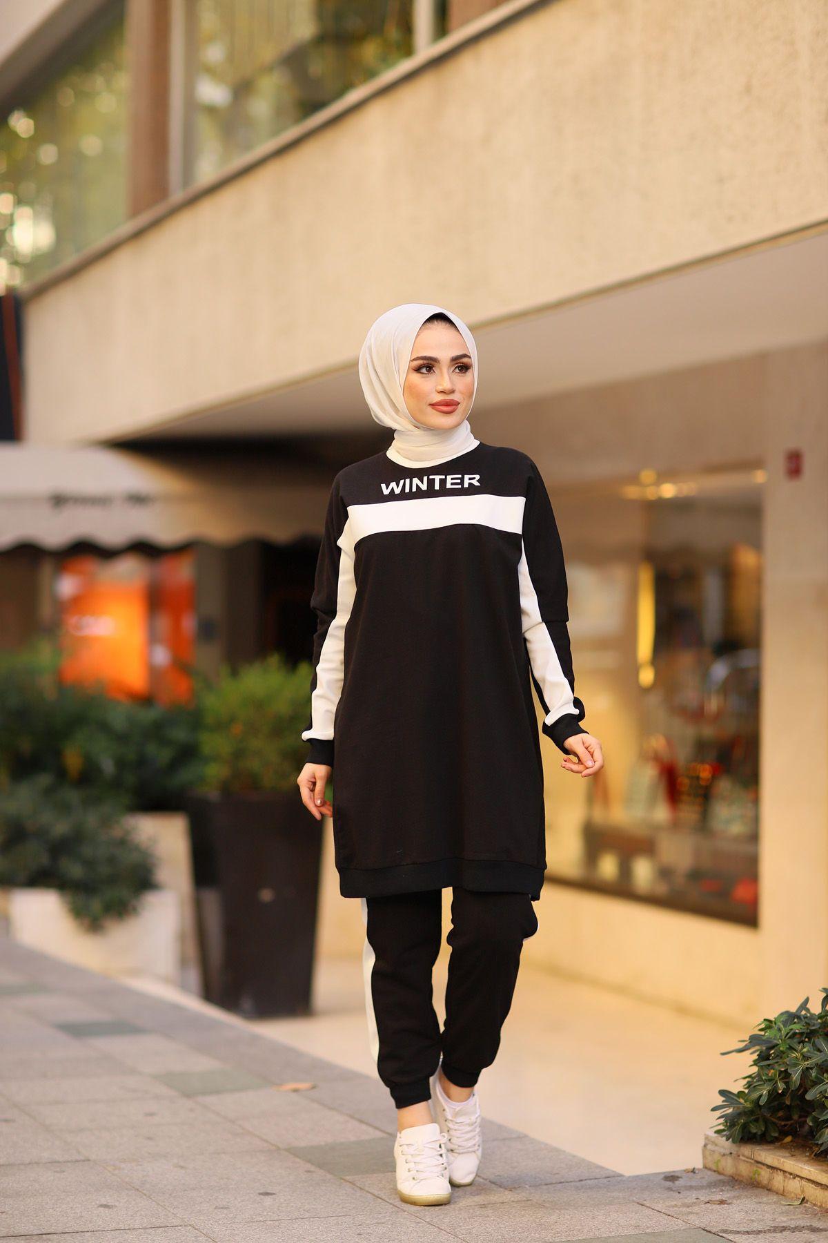 Winter Baskili Siyah Tesettur Kombin 2020 Moda Kiz Elbiseleri Moda Kiyafetler
