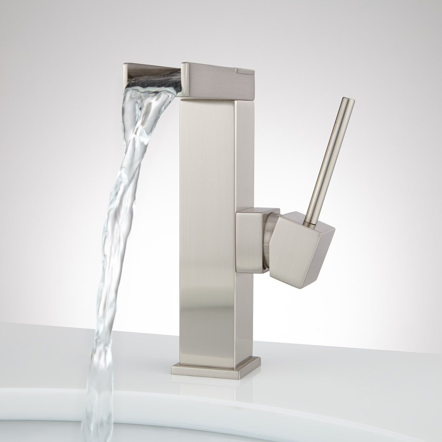 Xaiver Single-Hole Waterfall Bathroom Faucet - No Overflow - Brushed ...