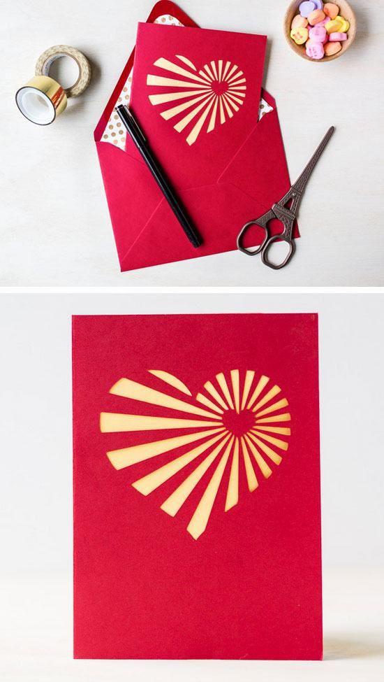 Diy Heartburst Valentine S Day Card Diy Valentines Cards For
