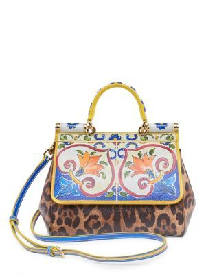 e37908d841 DOLCE & GABBANA Maiolica Leo Sicily Small Bag. #dolcegabbana #bags  #shoulder bags #leather #animal print #