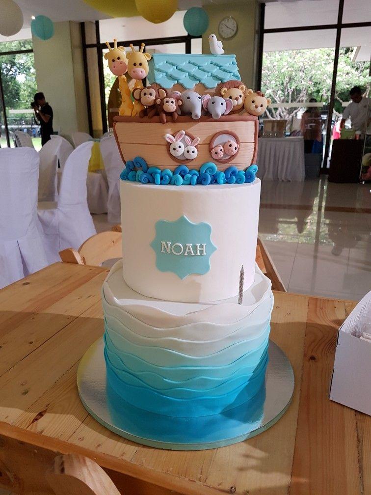 Noah S Ark Cake With Images Noahs Ark Cake Noahs Ark Baby