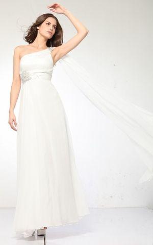 Ivory Greek Style Prom Dress One Shoulder Floral Rhinestone Ivory ...