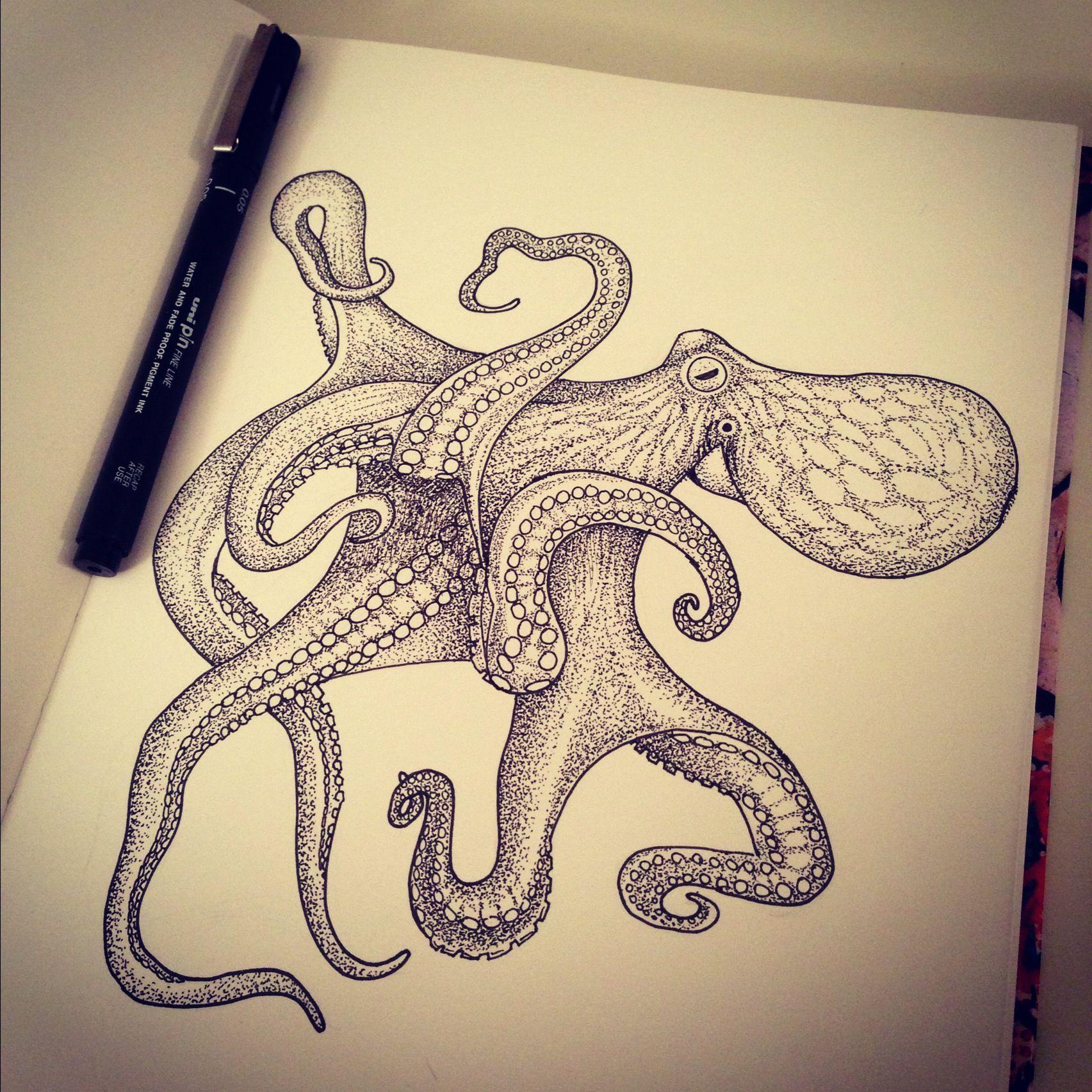 Octopus Pen drawing Art Pinterest Illustrations