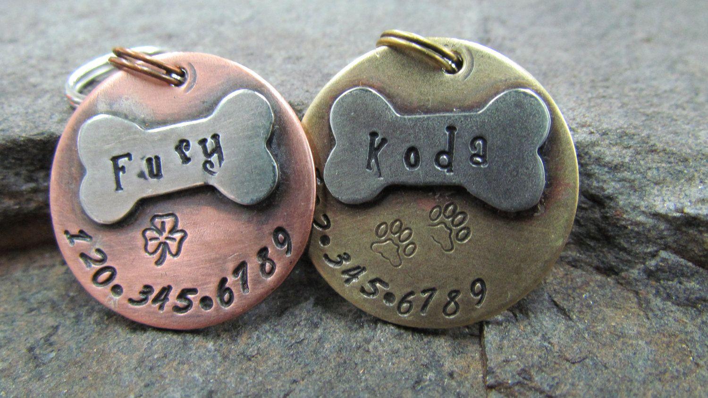 pet id tag pet tag dog id tag collar tag with a nickel bone