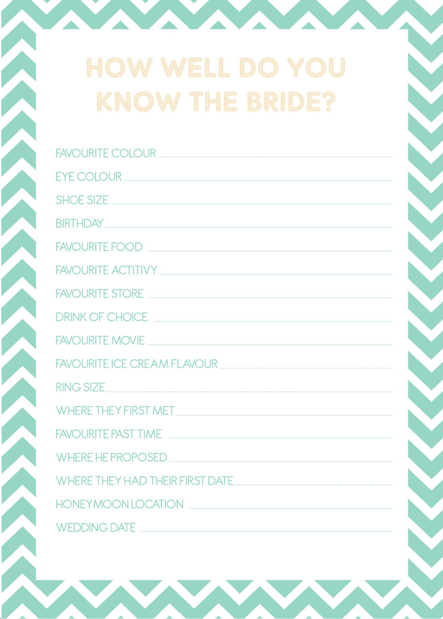 How Well Do You Know The Bride Digital Cards On Etsy This Game Is A Fun And Interactive Way For Guests To Get Or Earn Bragging Rights
