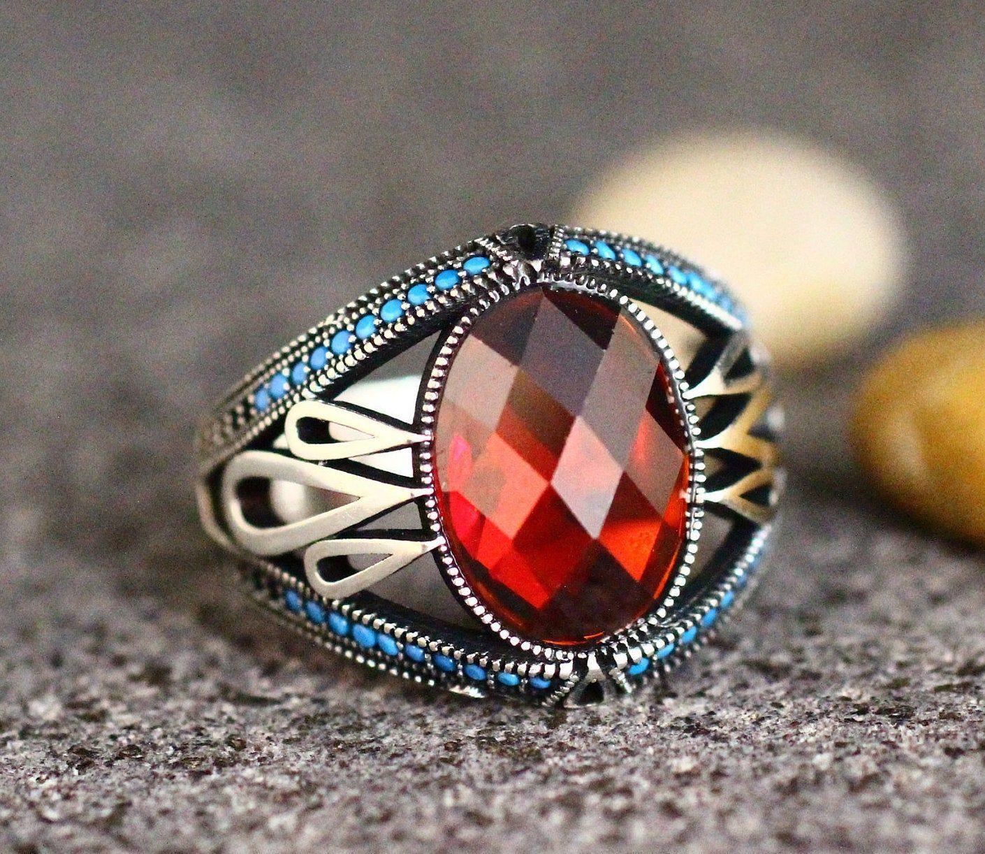 Sterling Silver 925 Men's Ring, Ruby Men Ring , Silver Men's Ring, Gift for Him, Ottoman Silver 925 Men Ring, Turkish Handmade Men Ring,Ruby -   - #beautifuljewelry #Gift #glassesforyourfaceshape #Handmade #Men #mens #Ottoman #ring #RingRuby #Ruby #Silver #sterling #Turkish