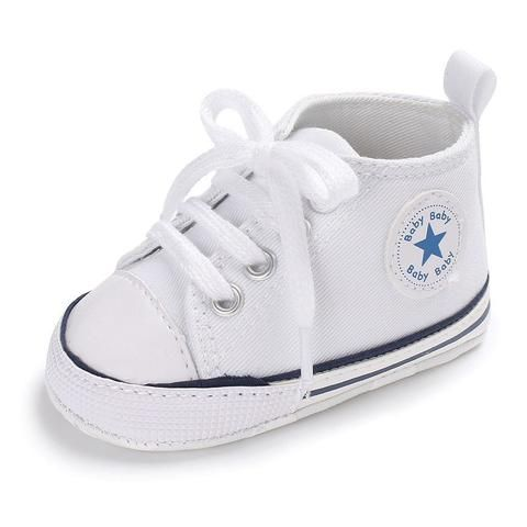 Canvas Newborn Baby Boy Girl Shoes Brand Soft Soles Non-slip Star Lace-Up First  Walkers Toddler Crib Shoes Baby Sneakers 73d2d39e5a35