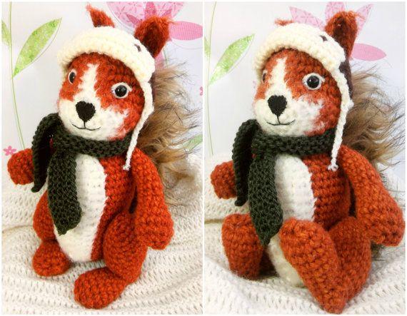 Sven the Squirrel, amigurumi crochet pattern, written PDF pattern in English, crochet doll animal, Plushy Squirrel Toy
