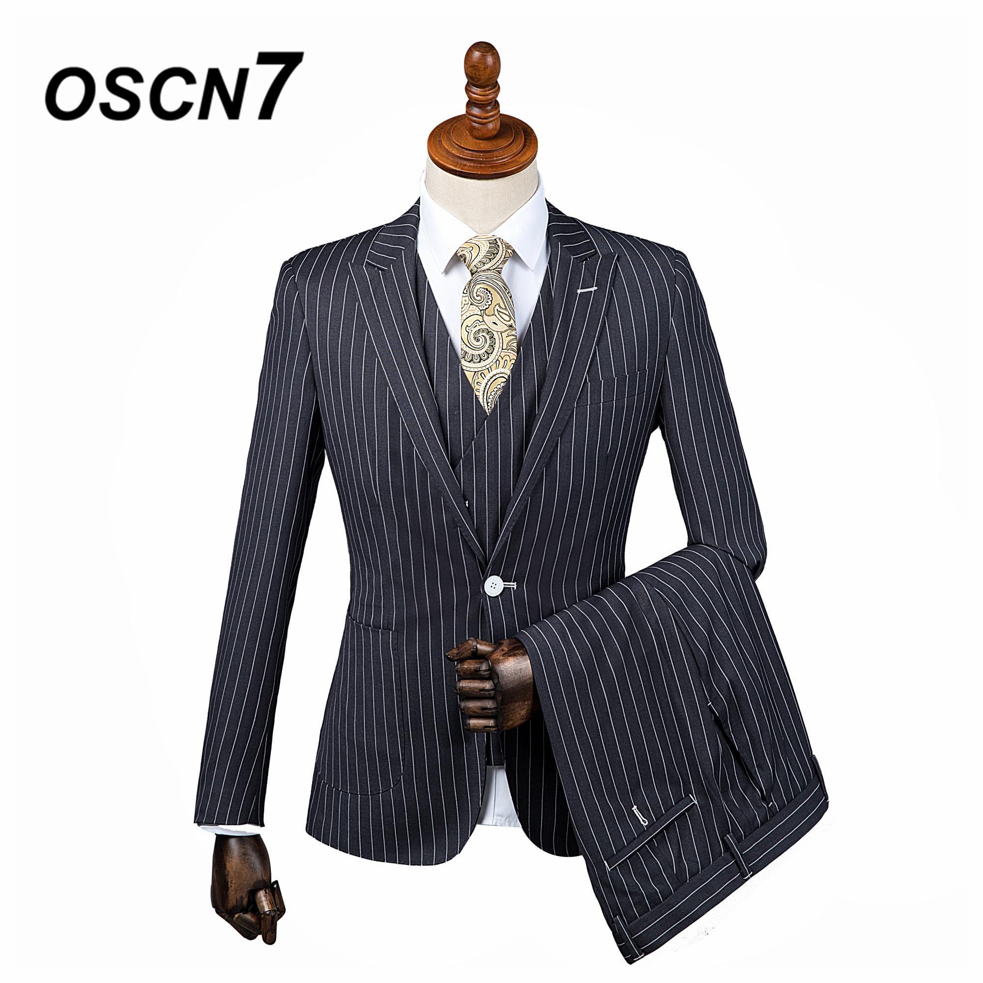 1449cd324d41 OSCN7 3PCS Black Tailor Made Suits Men Gentleman White Vertical stripes Wedding  Dress Custom Made Suit Men Fashion Tuxedo DM-013.