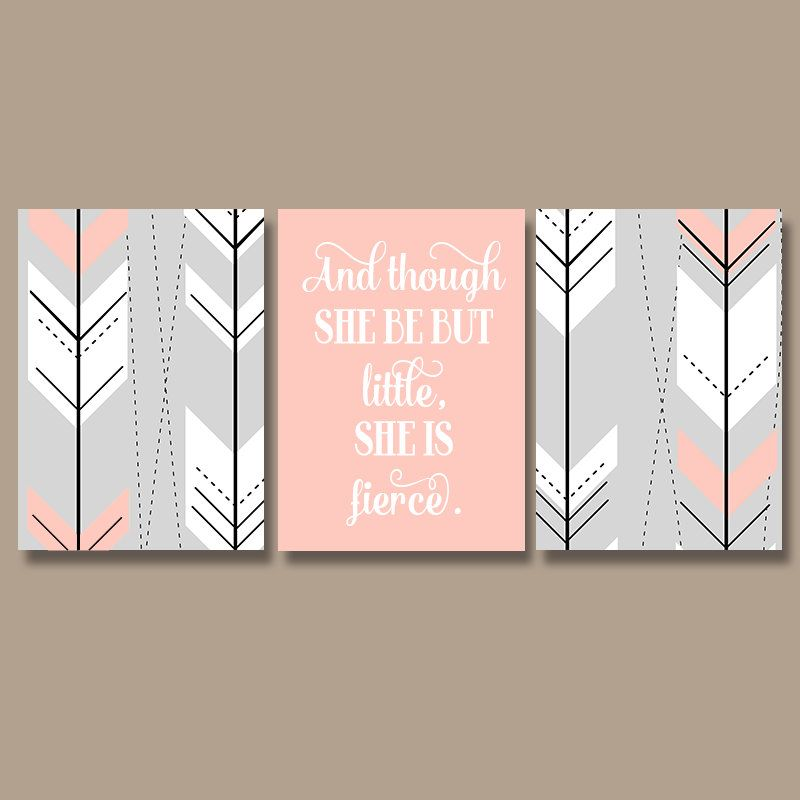 canvas prints for baby room. Arrow Nursery Decor - Girl Tribal Wall Art Boho Canvas Or Prints-She Be But Little She Is Fierce-Aztec Quote Pictures-Set Of 3 Prints For Baby Room C