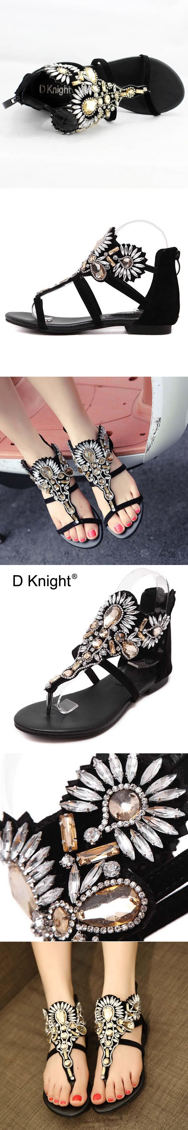 991f7f31924e Crystal Gladiator Sandals Women Summer Flip Flops Casual Shoes Woman Slip  On Flats Rhinestone Black Shoes Plus Size 35-40 E22