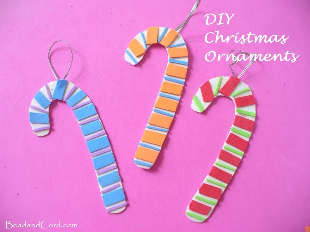 Homemade paper christmas decorations - Diy Christmas Ornaments Foam Paper Candy Canes
