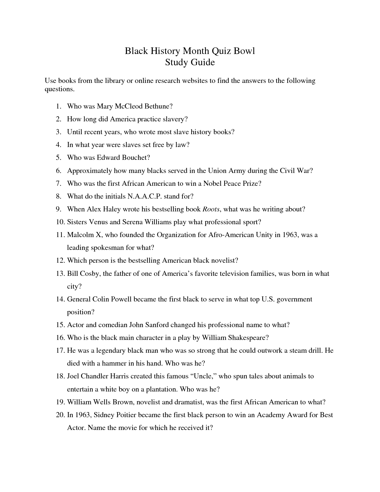 Are Cats Or Dogs Better Black History Month Trivia Questions