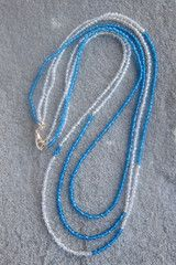 Wired Three Strands Blue and White Necklace