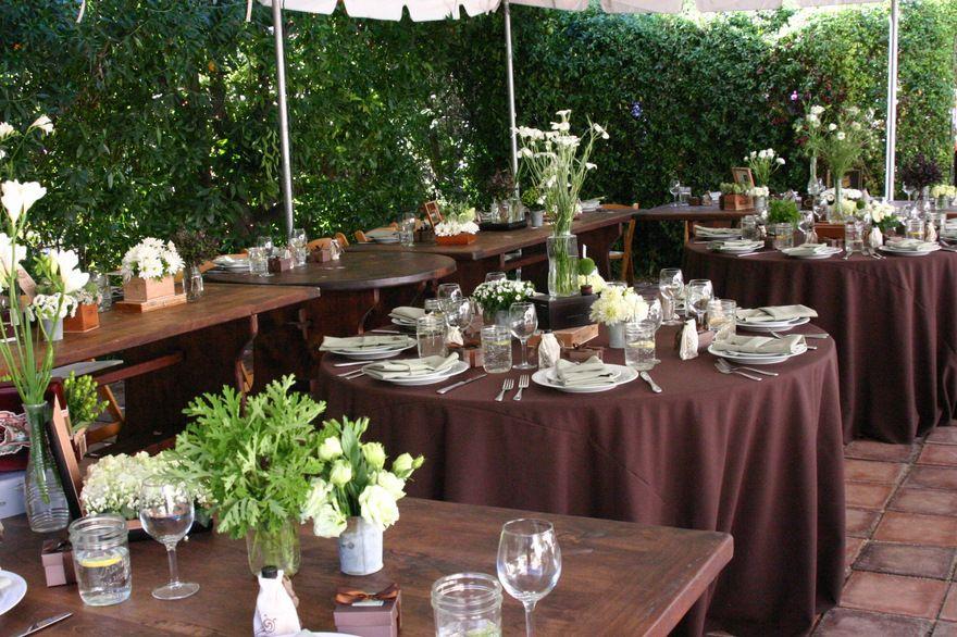 wedding reception harvest tables