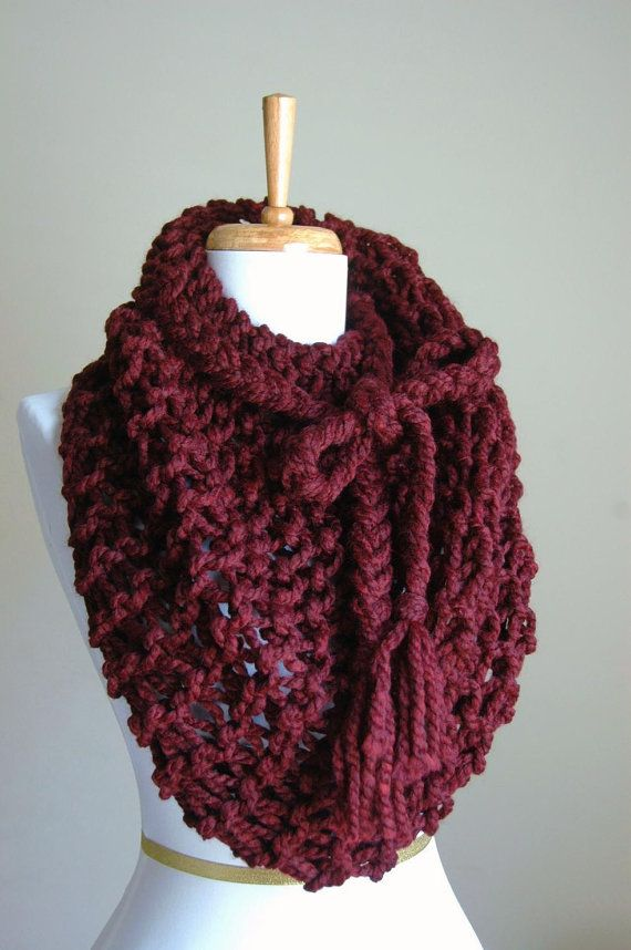 Claret Burgundy Knit Triangle Wool Scarf with Ties - Oversized ...