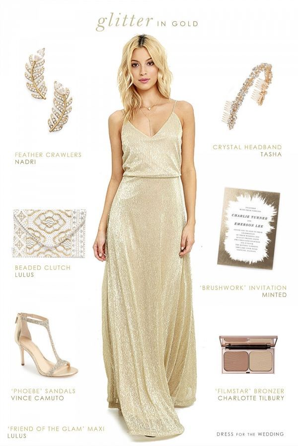 Glittering Gold Maxi Dress for a Glam Bridesmaid on /dressforwedding/ on /aislesociety/