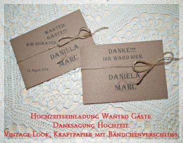 einladung danksagung hochzeit, kraftpapier, vintage hk 691, Einladungen