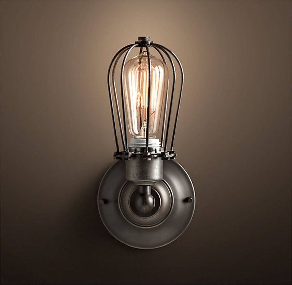 Antik Retro Vintage Käfig Lampe Wandleuchte Inkl. 40W