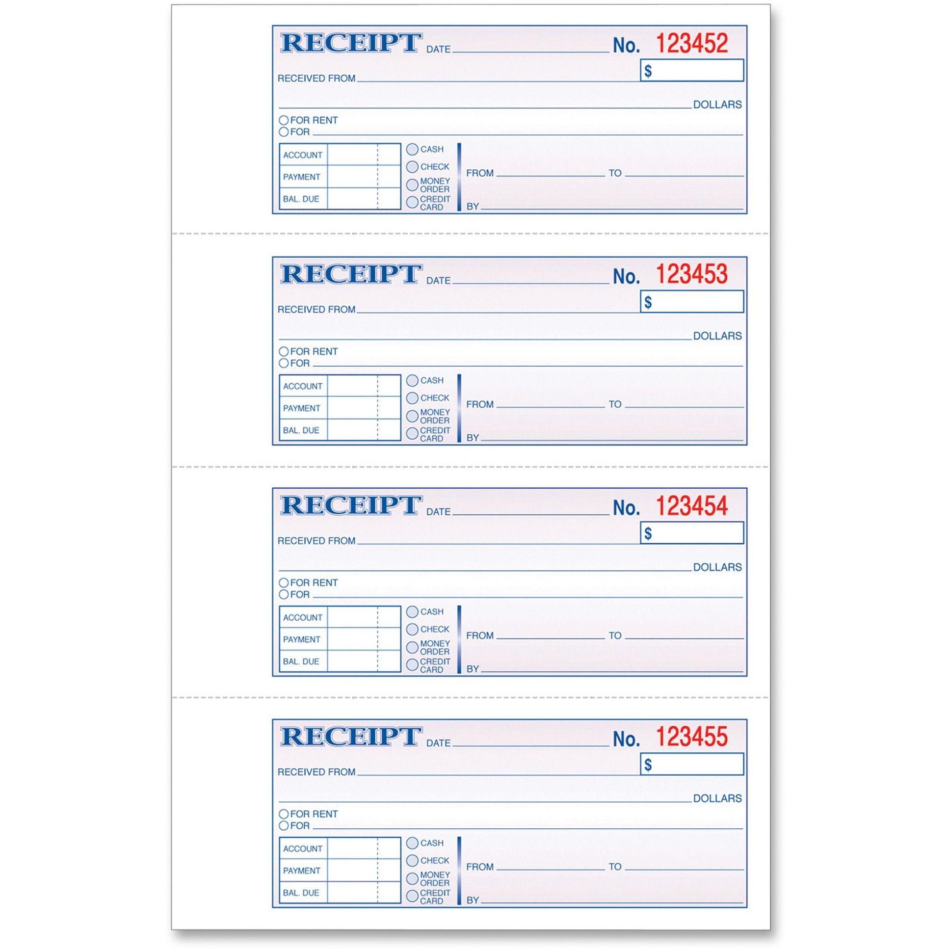 Tops Money Rent Receipt Book 1 Each Quantity Walmart Com Room Rental Agreement Hardbound Receipt Template