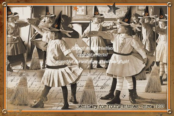 PRIMITIVE HALLOWEEN POSTCARDS  Seminary For Young by gfxgirl, $4.50