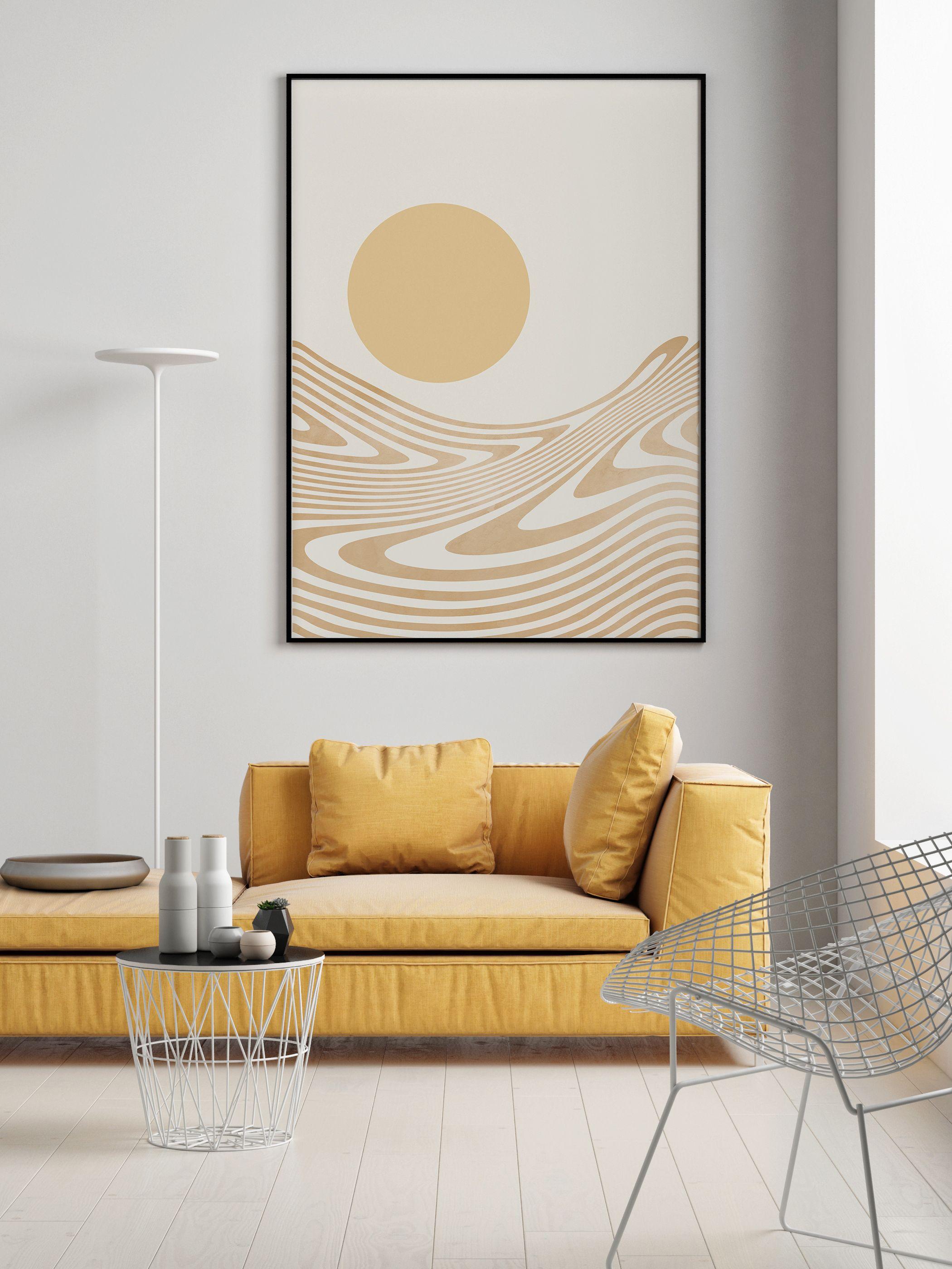 Mid Century Modern Printable Wall Art, Boho Decor Abstract Desert and Sun Art Print