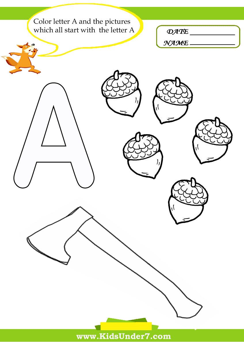 kids under 7 letter a worksheets and coloring pages letters