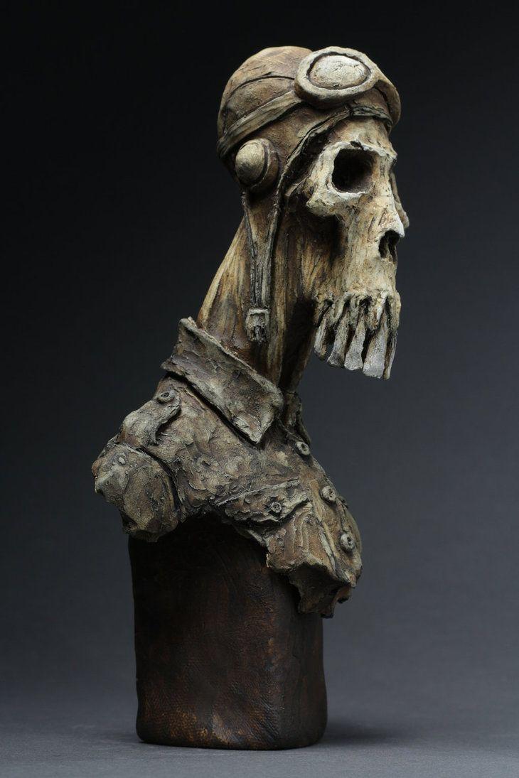 """Pilot Down"" skull portrait by Dug Stanat"