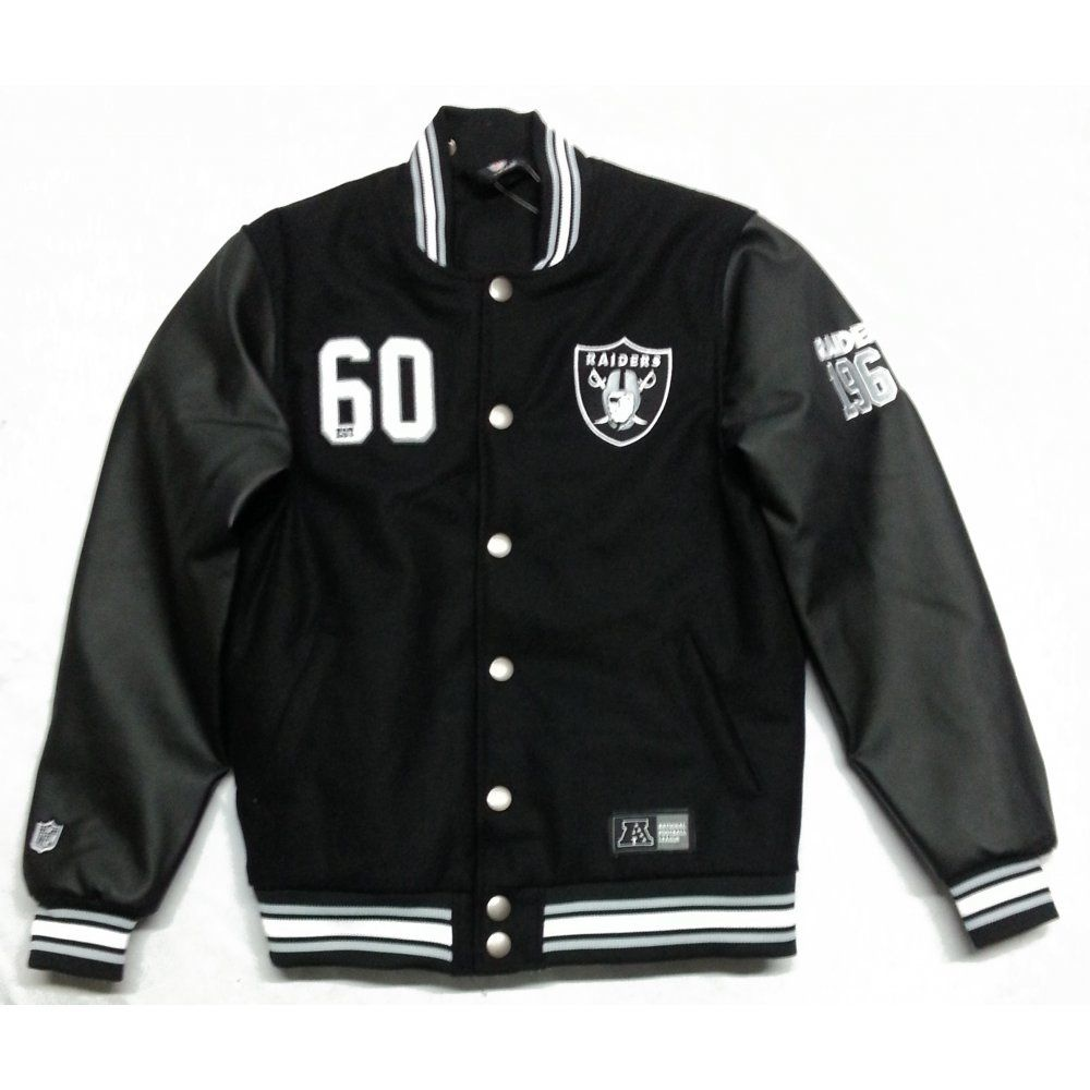 Majestic Dean Letterman Oakland Raiders Jacket Black  b45c5462592