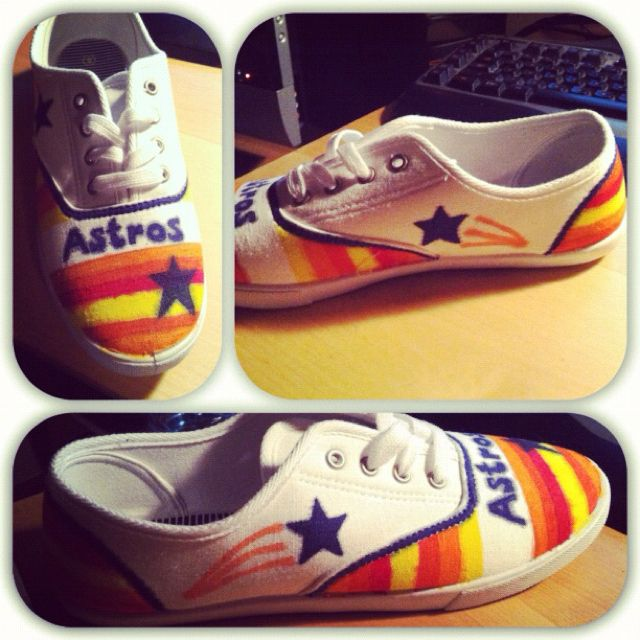 Painted shoes diy, Astros apparel