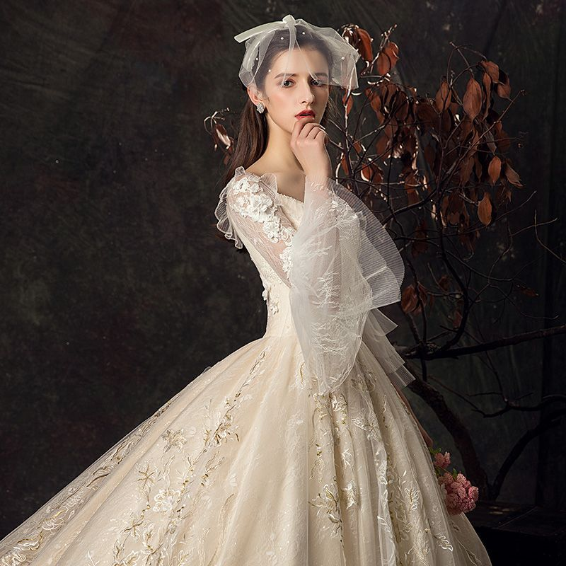v neck wedding dress with bell sleeves