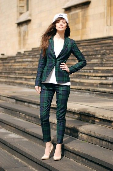 ecugo green & purple wool blazer