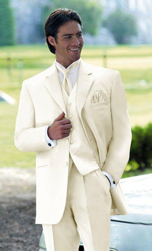 cream suits for men wedding | Mens 3 Button Ivory Tuxedo + ...
