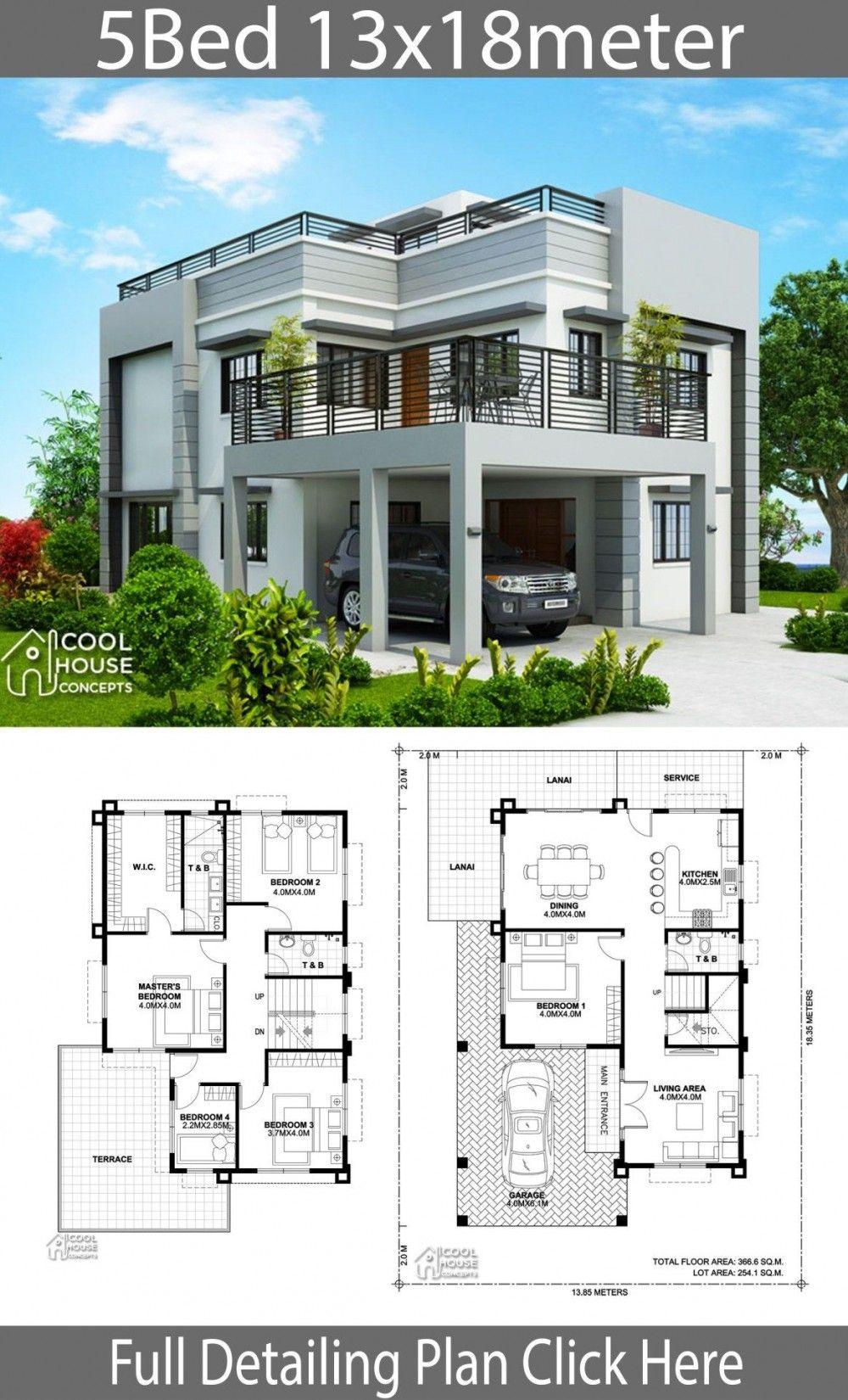 Plan De Design De Maison 13x18m Avec 5 Chambres A Coucher Architectural House Plans Model House Plan Modern House Plans