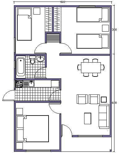 Plano de casa de 54m2 favorite places spaces - Plano de casas ...