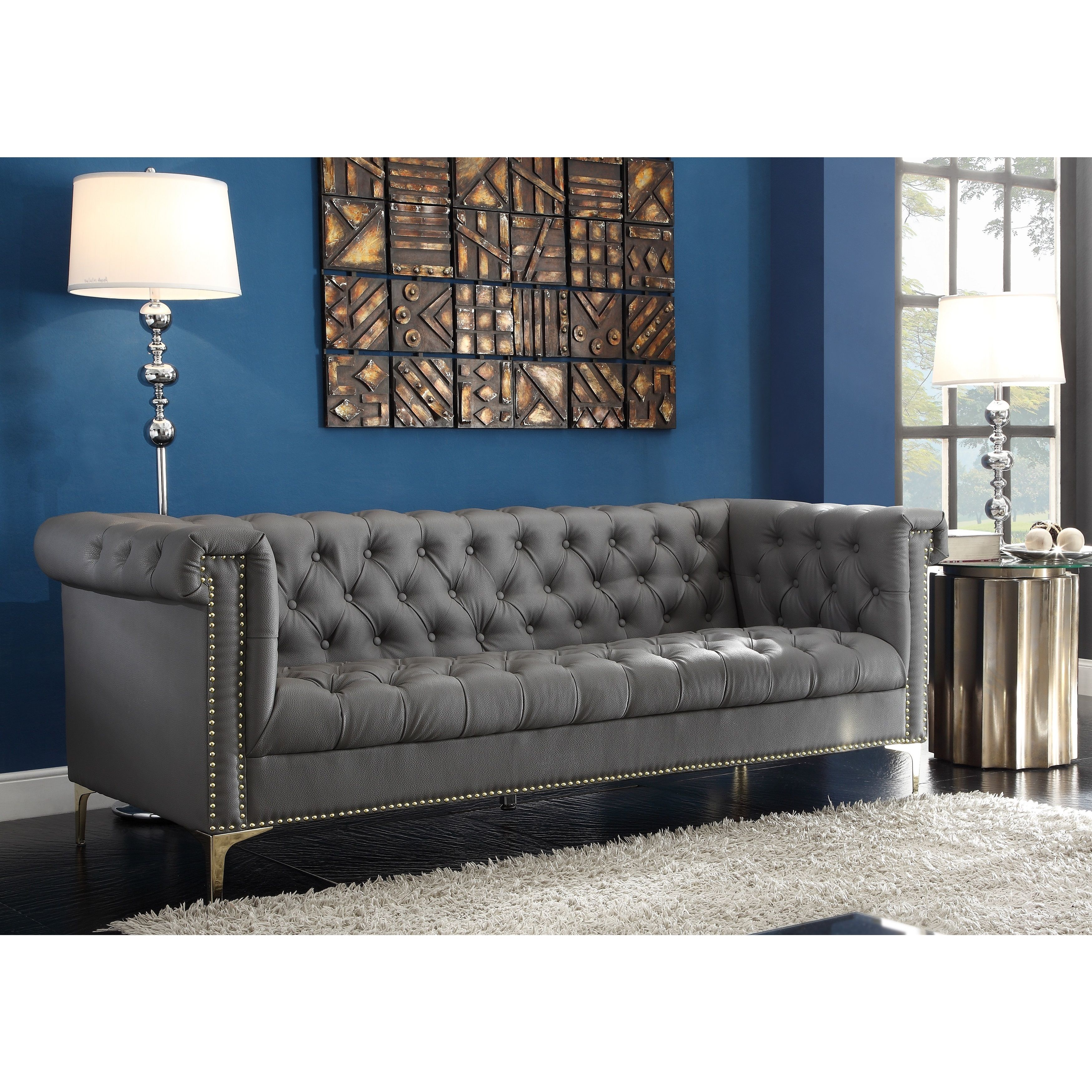 Iconic Home Winston Blue Black Grey Chrome Leather Button Tufted