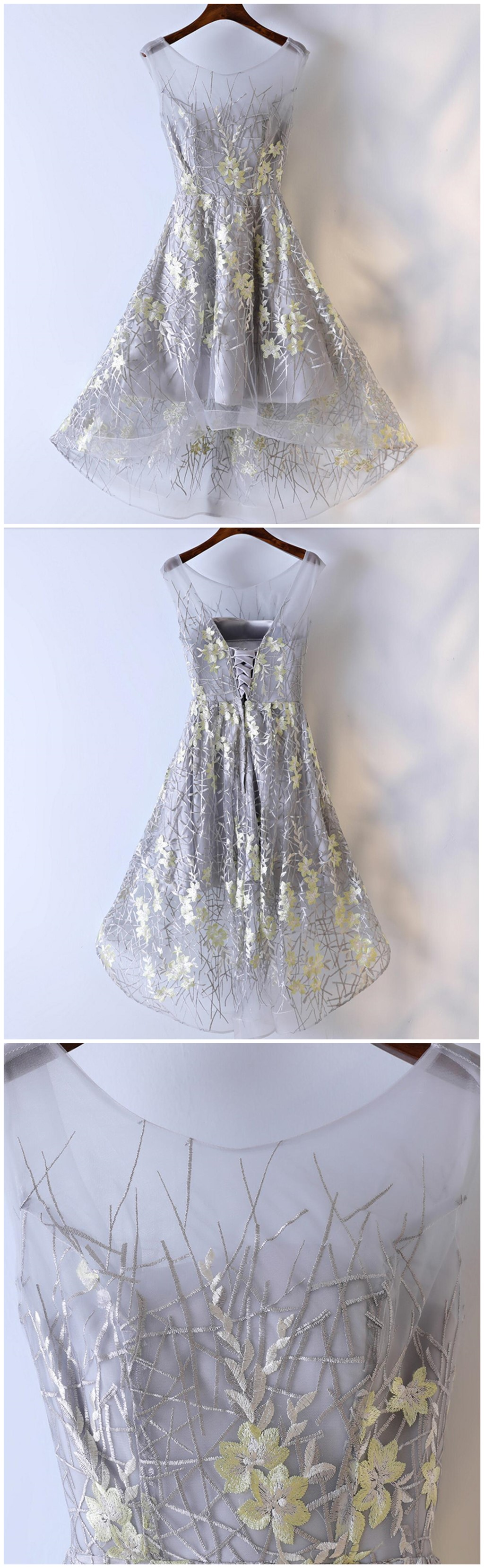High low grey yellow lace homecoming prom dresses affordable corset